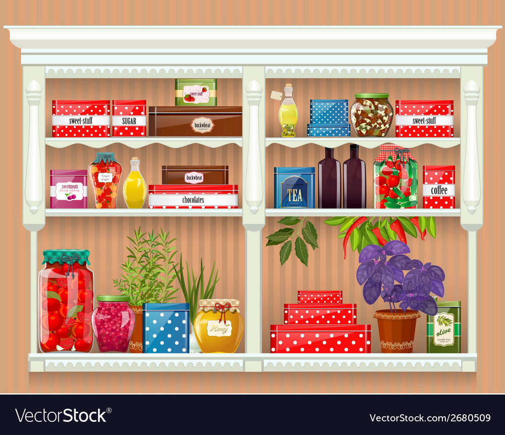 Fresh produce and glass bottles with preserved vector | Price: 3 Credit (USD $3)