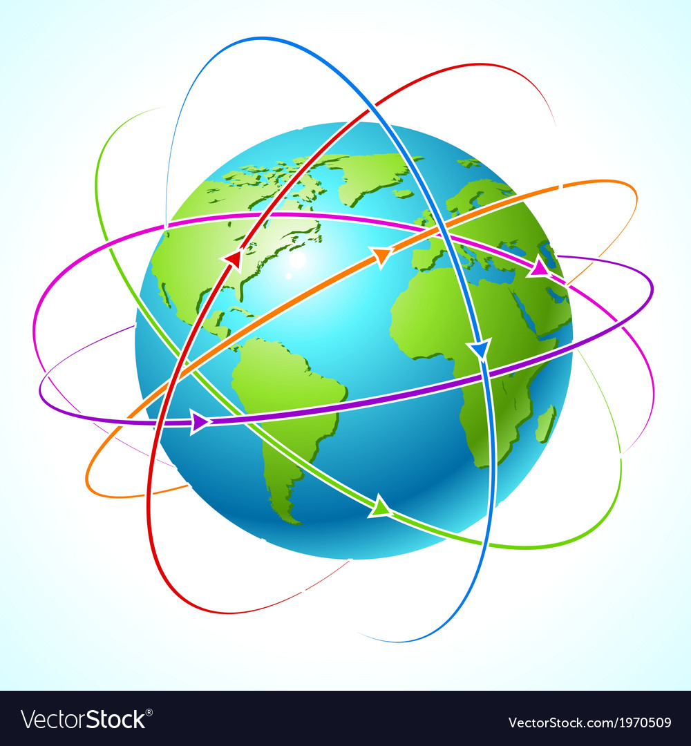 Globe with orbits map clean vector | Price: 1 Credit (USD $1)