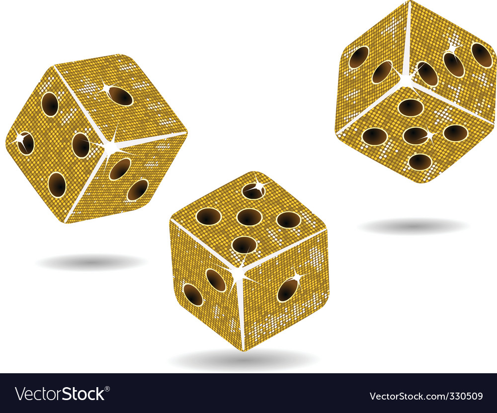 Gold mosaic dice and shadows vector | Price: 1 Credit (USD $1)