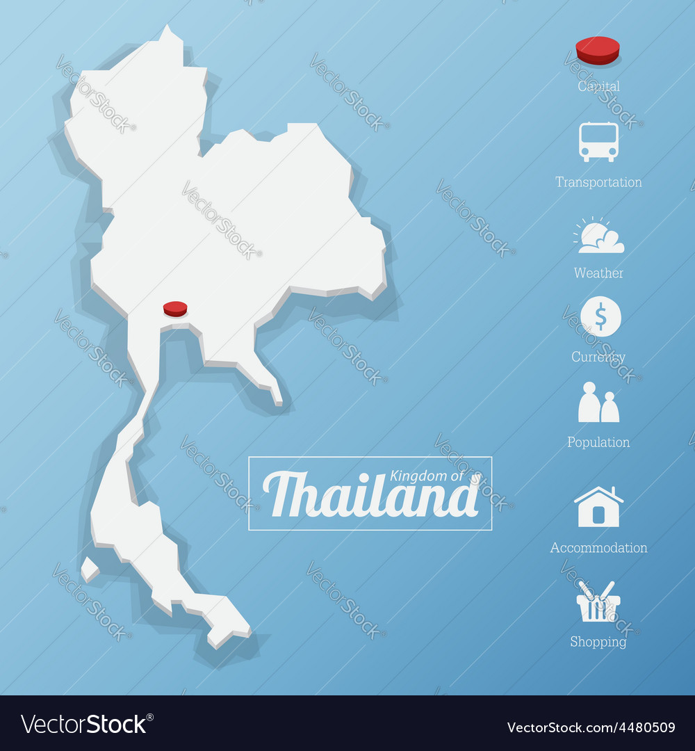 Kingdom of thailand map vector | Price: 1 Credit (USD $1)
