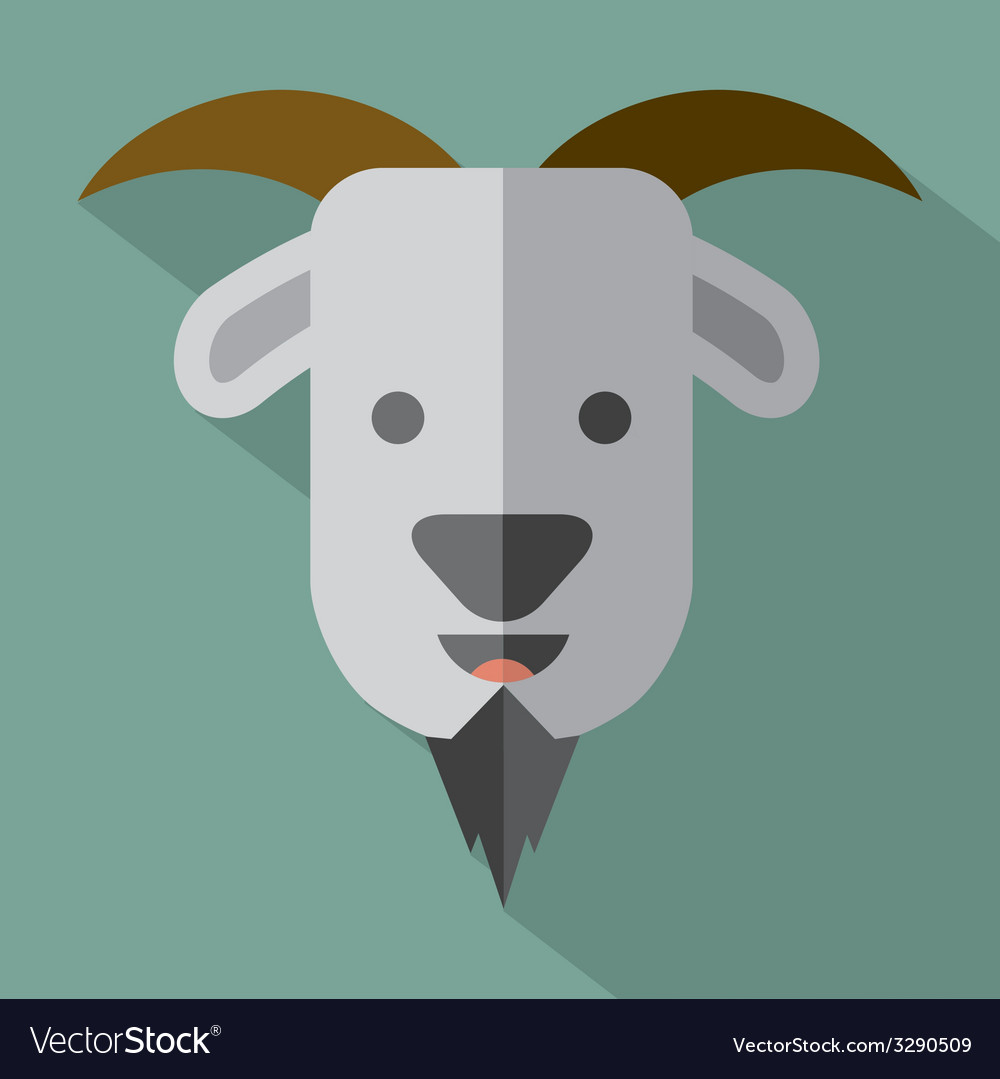 Modern flat design goat icon vector | Price: 1 Credit (USD $1)