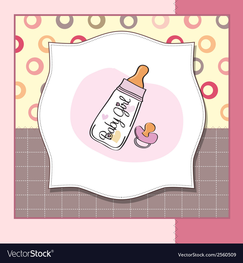 New baby girl announcement card with milk bottle vector | Price: 1 Credit (USD $1)