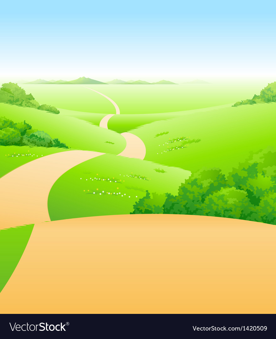 Path over green landscape vector | Price: 1 Credit (USD $1)