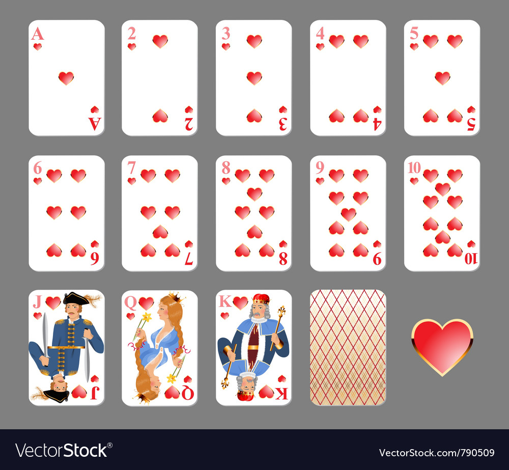 Playing cards heart suit vector | Price: 3 Credit (USD $3)