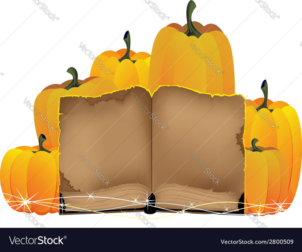 Pumpkins heap and the old book vector | Price: 1 Credit (USD $1)