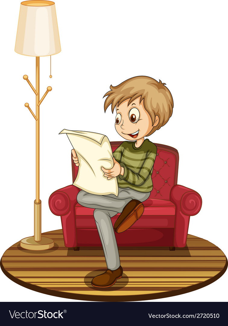 Boy reading newspaper vector | Price: 1 Credit (USD $1)
