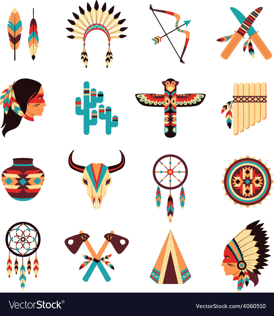 Ethnic american indigenous icons set vector | Price: 1 Credit (USD $1)