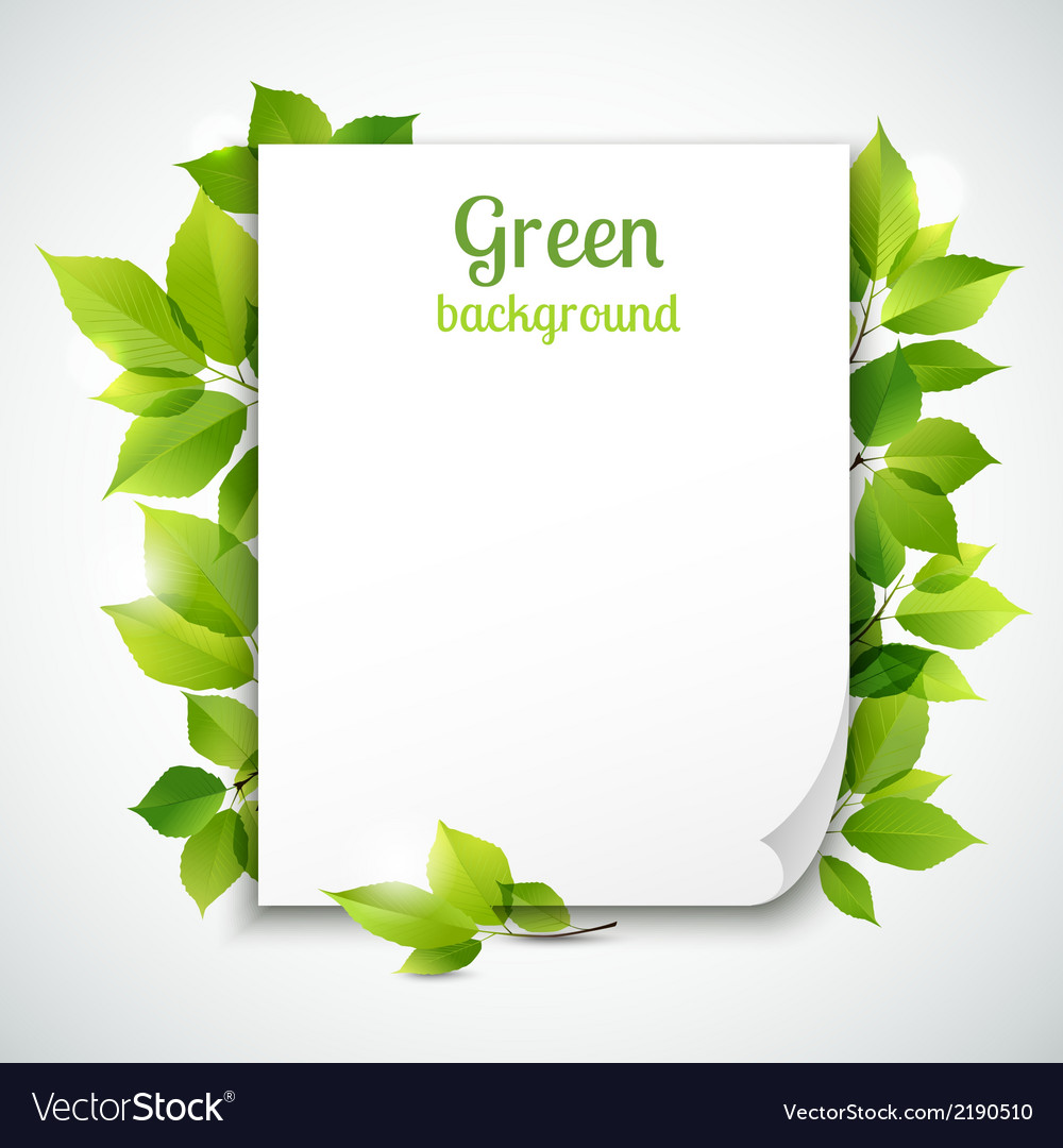 Green leaves frame template vector | Price: 1 Credit (USD $1)