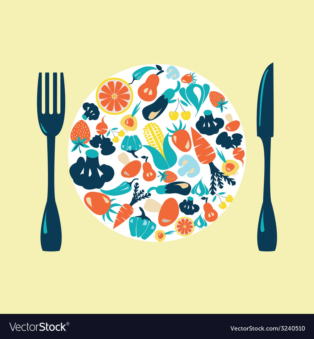 Healthy food icons set vegetable vector