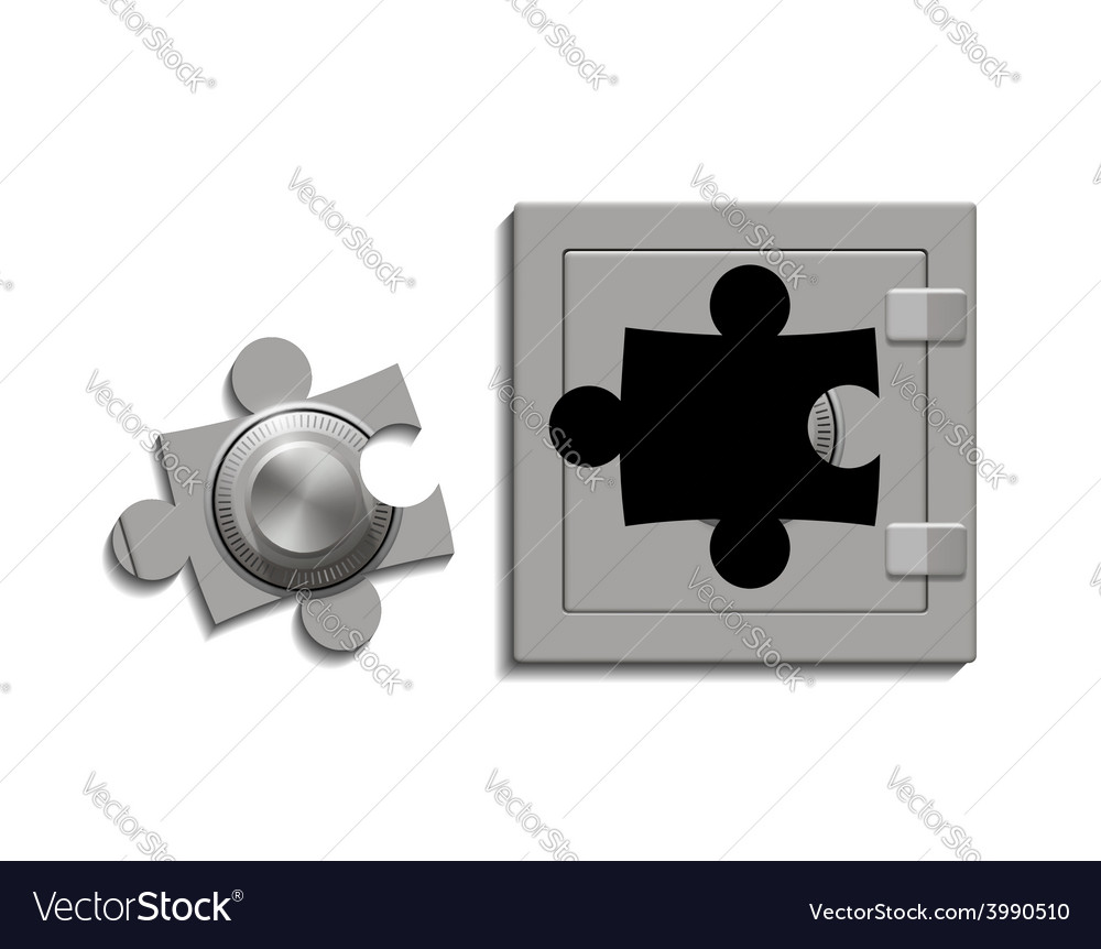 Metal safe with a lock as a jigsaw puzzle vector | Price: 1 Credit (USD $1)