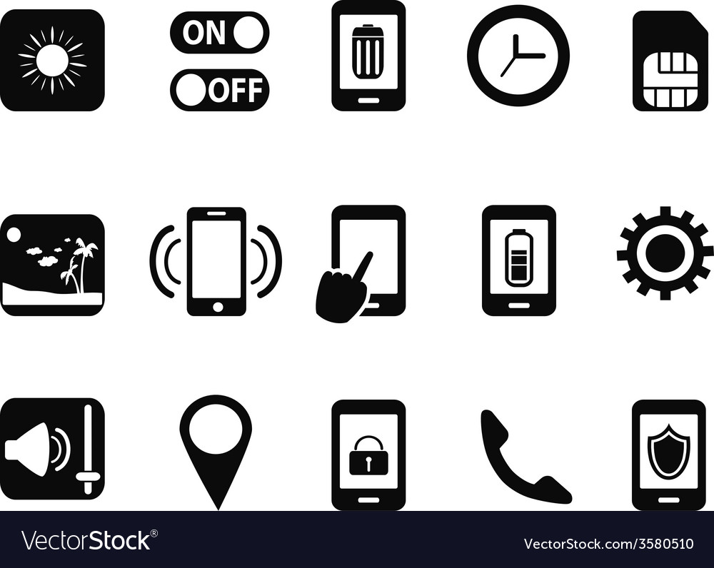 Mobile setting icons set vector   Price: 1 Credit (USD $1)