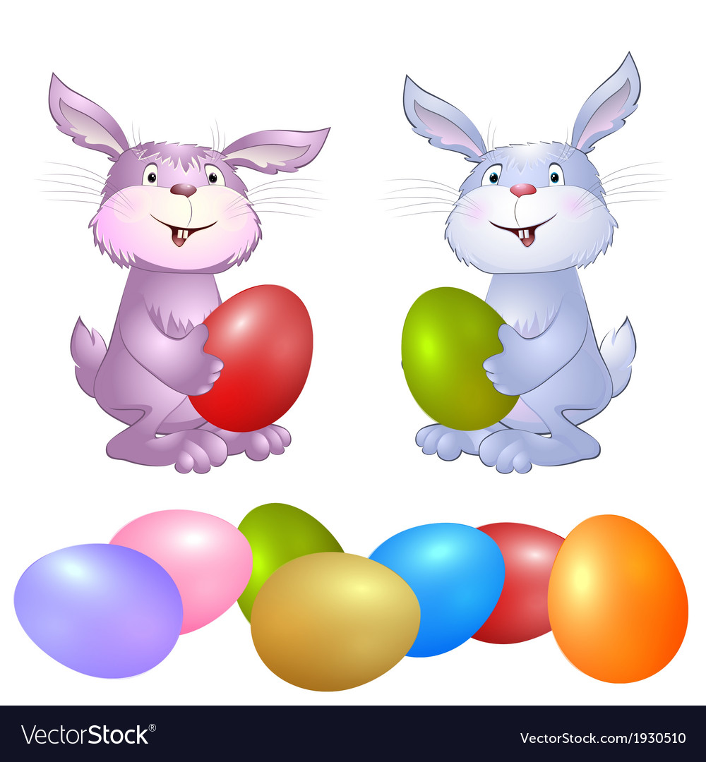 Rabbit with easter eggs vector | Price: 1 Credit (USD $1)