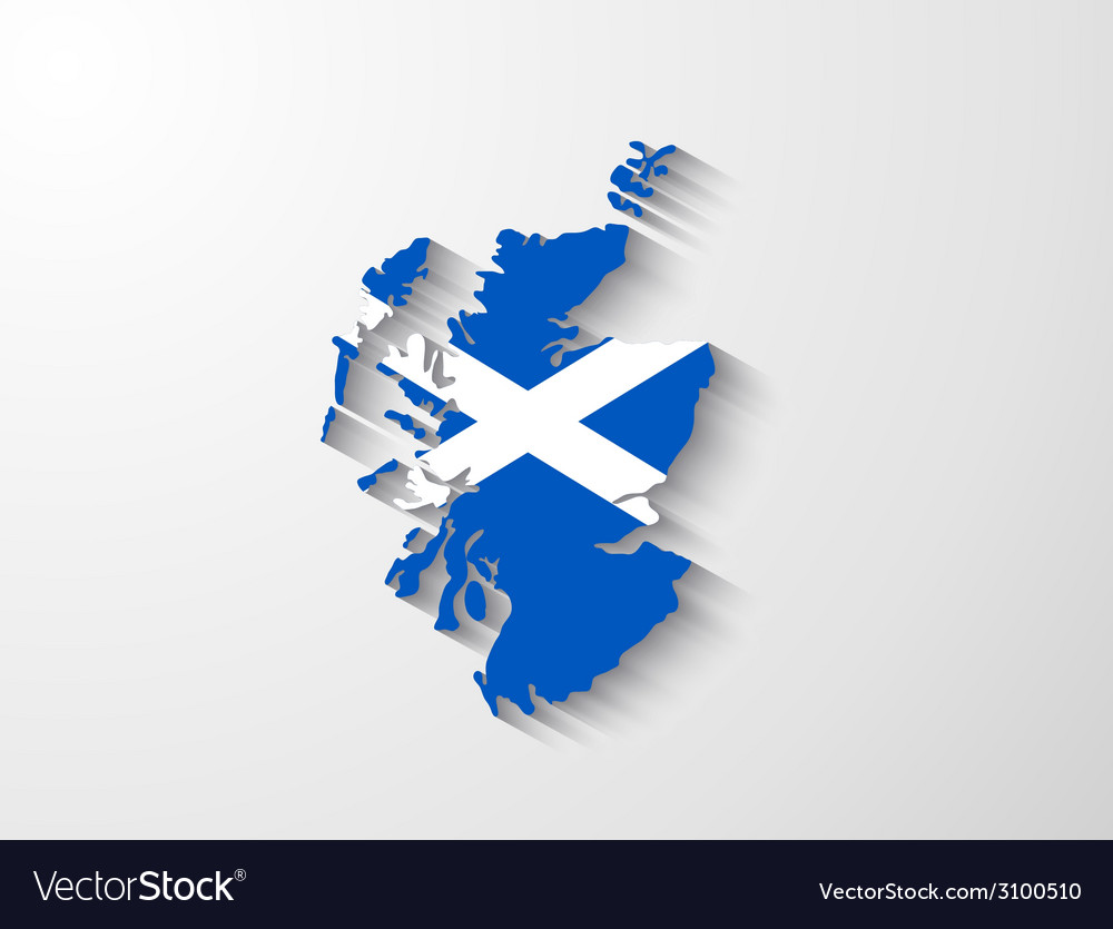 Scotland map with shadow effect vector | Price: 1 Credit (USD $1)