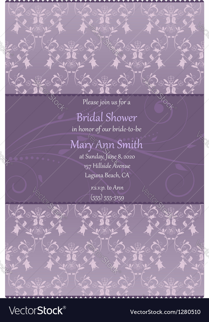 Violet bridal shower invitation vector | Price: 1 Credit (USD $1)
