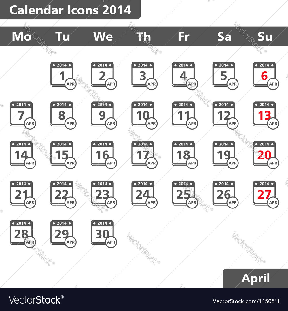 April 2014 calendar icons vector | Price: 1 Credit (USD $1)
