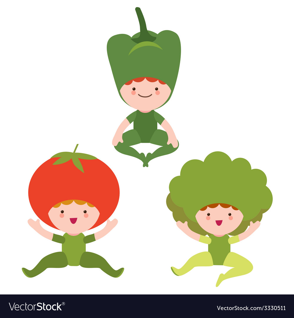 Cute vegetables characters vector | Price: 1 Credit (USD $1)