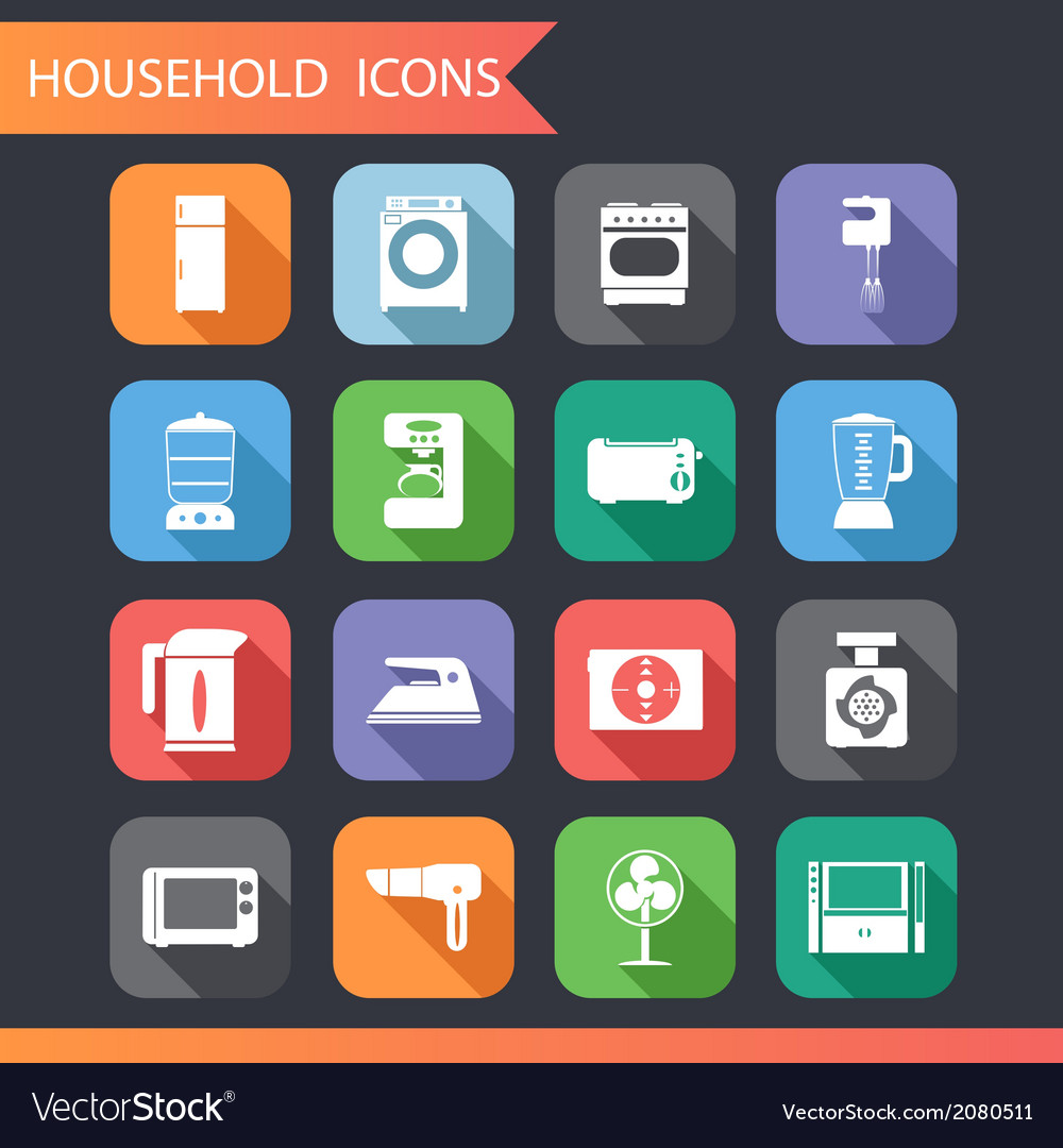 Flat household icons and symbols set vector | Price: 1 Credit (USD $1)