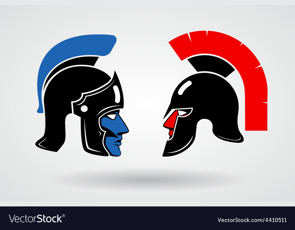 Gladiators heads in ancient helmets vector | Price: 1 Credit (USD $1)