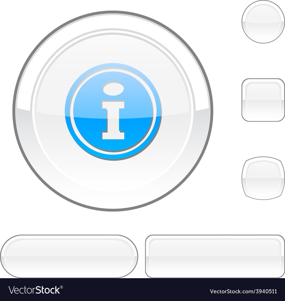 Info white button vector | Price: 1 Credit (USD $1)