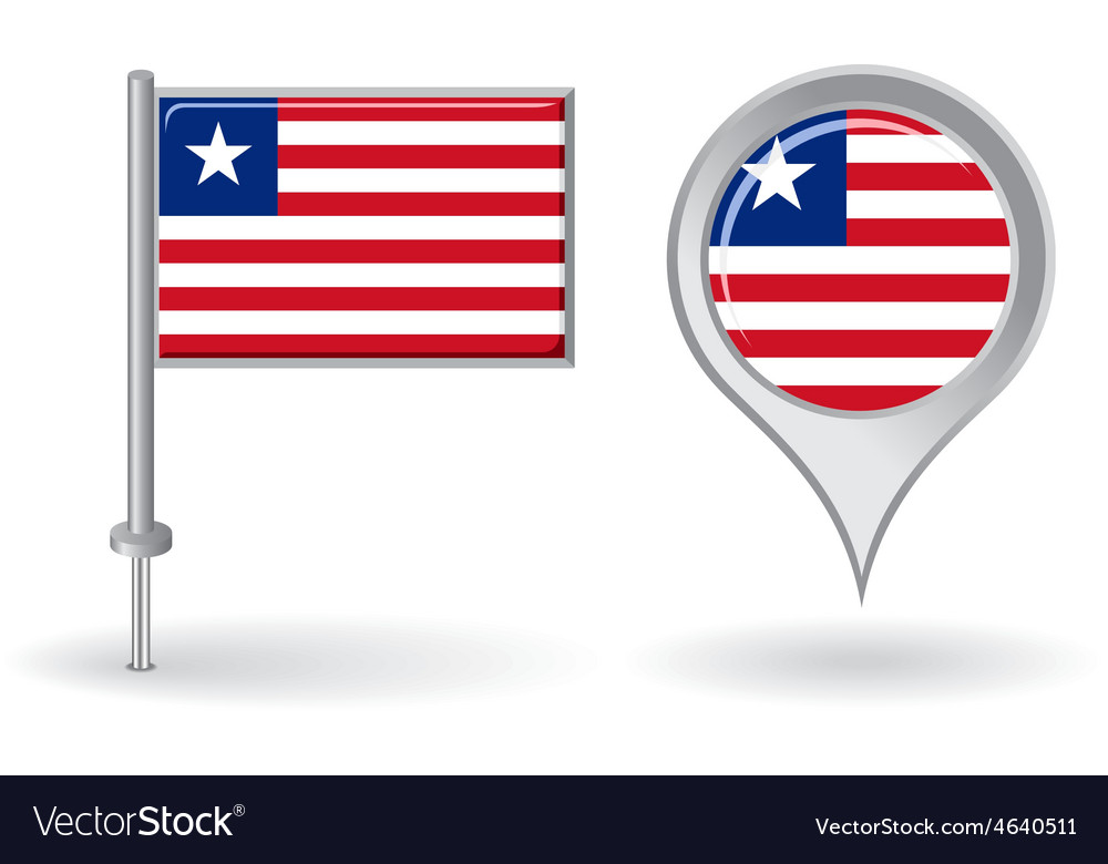 Liberian pin icon and map pointer flag vector | Price: 1 Credit (USD $1)