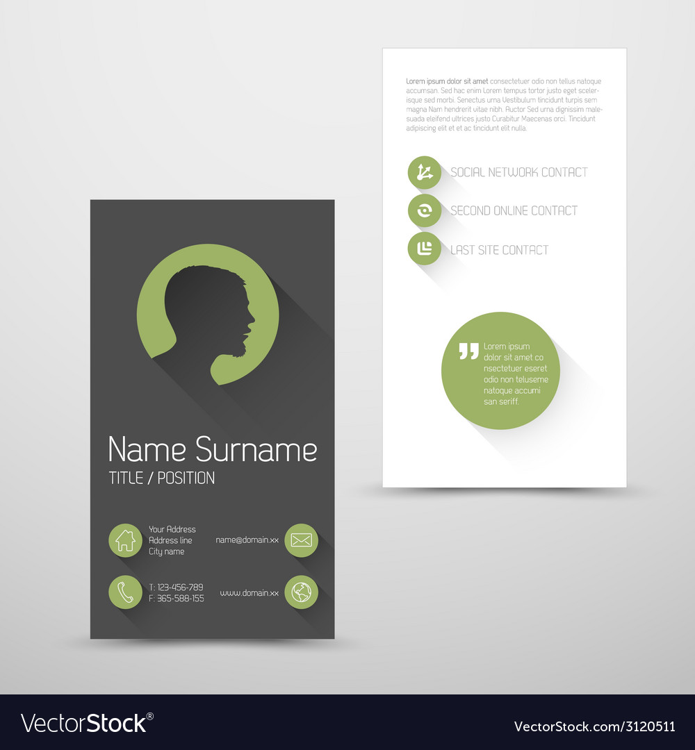 Modern green business card template with flat user vector | Price: 1 Credit (USD $1)