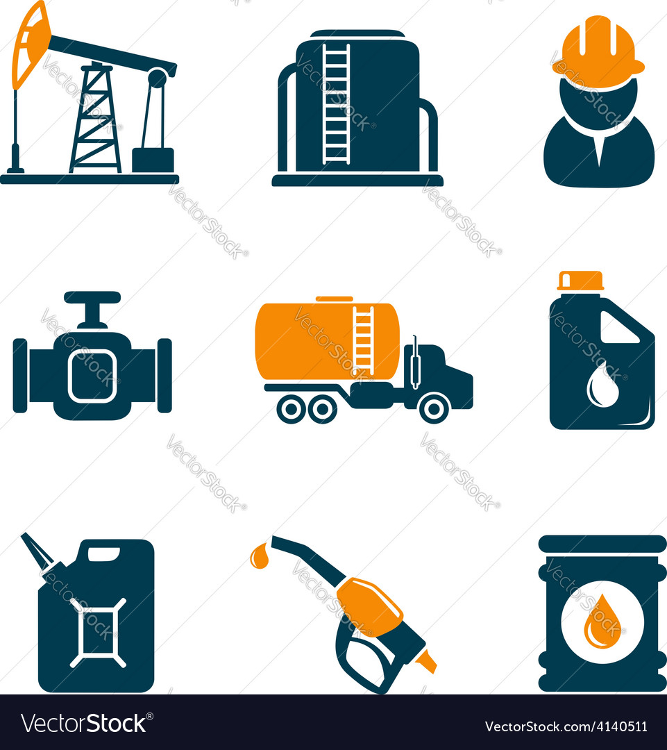 Oil industry gasoline processing icons vector | Price:  Credit (USD $)