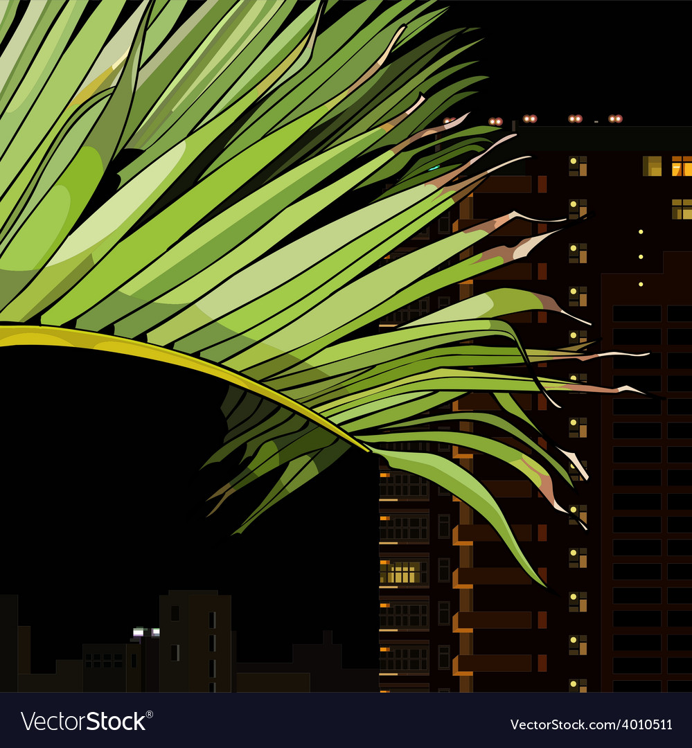 Palm leaf on the background of the city at night vector | Price: 3 Credit (USD $3)