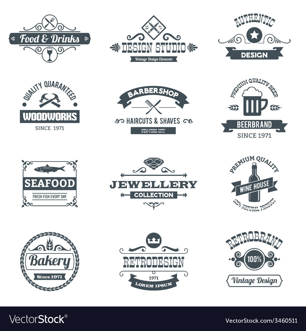 Retro logo set vector | Price: 1 Credit (USD $1)