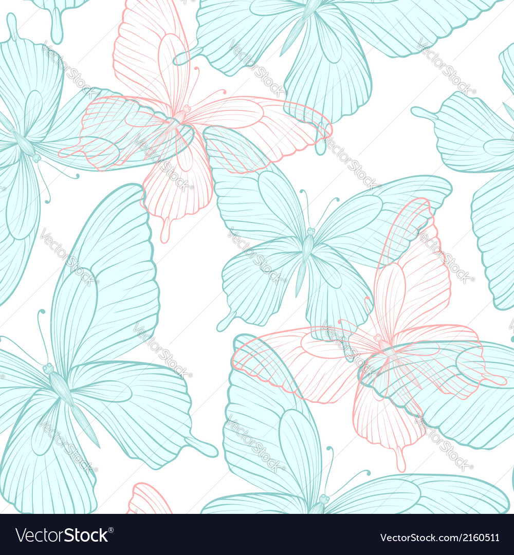 Seamless background with bright colorful butterfli vector | Price: 1 Credit (USD $1)