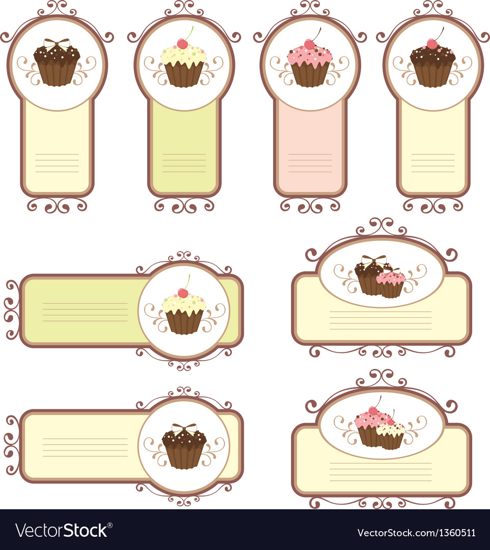 Set of labels with cupcakes vector | Price: 1 Credit (USD $1)