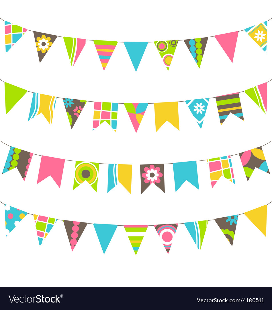 Set of multicolored flat buntings garlands flags vector | Price: 1 Credit (USD $1)