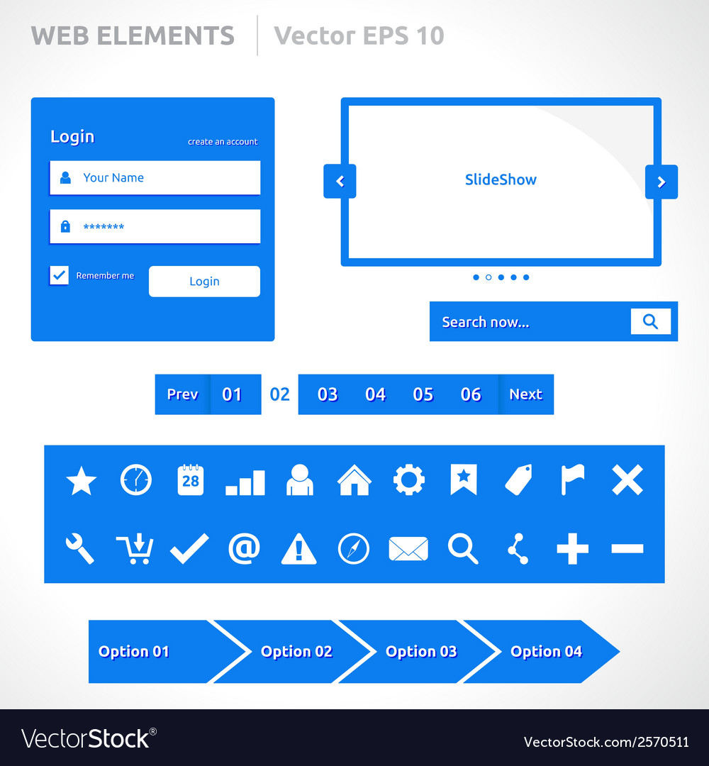 Web site elements template vector | Price: 1 Credit (USD $1)