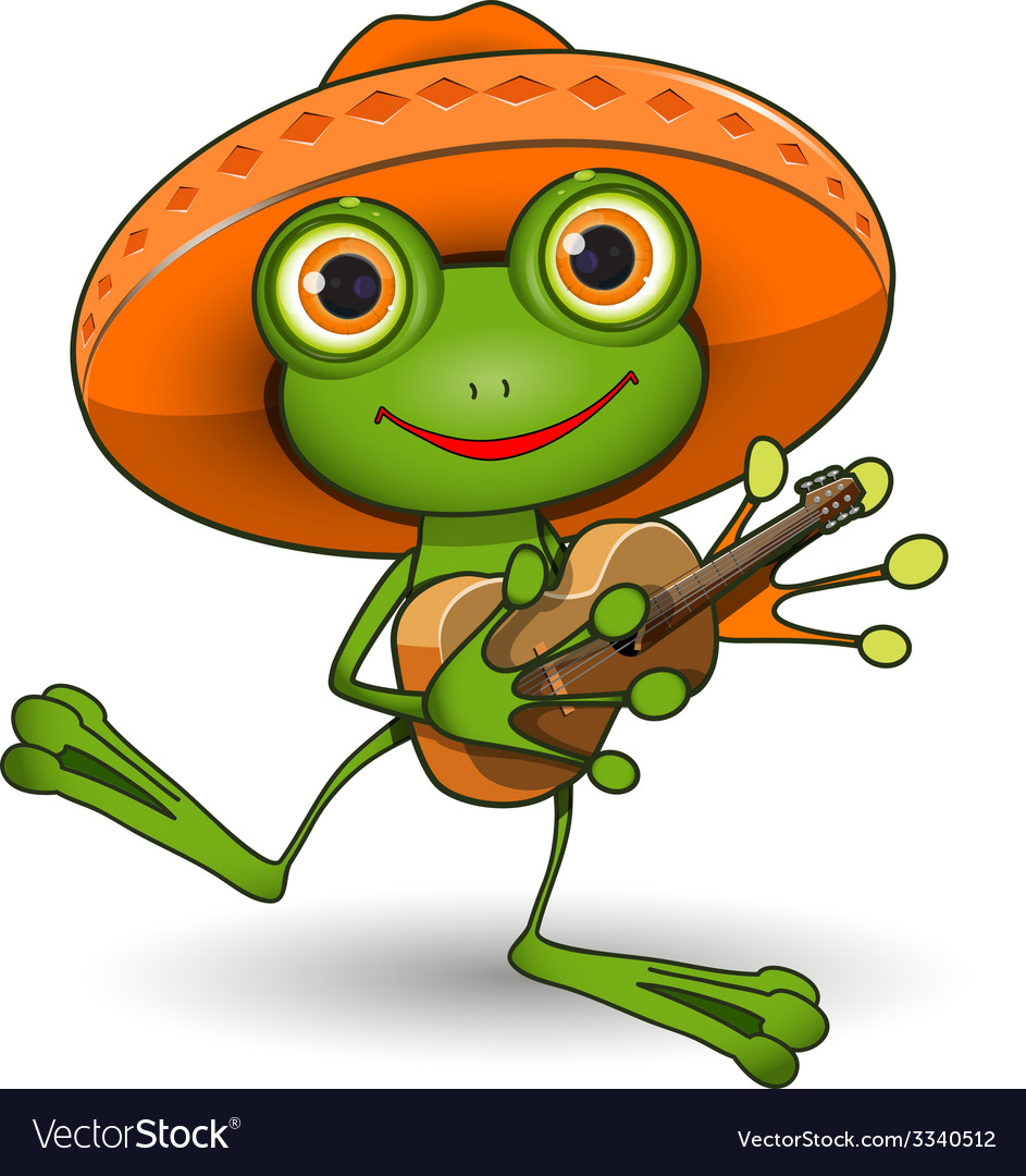 Frog with guitar vector | Price: 3 Credit (USD $3)