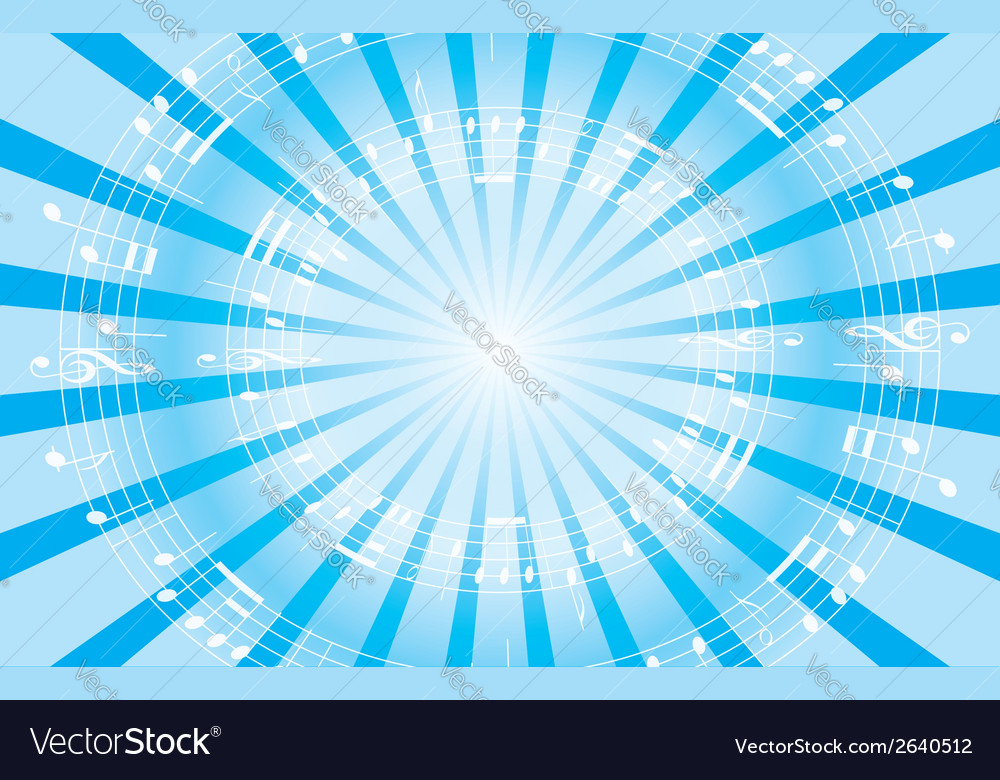 Light blue music background with radial rays vector | Price: 1 Credit (USD $1)