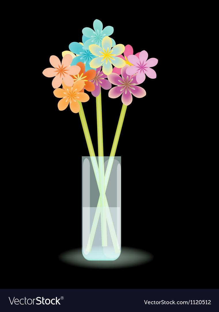 Multicolored flowers in vase vector | Price: 1 Credit (USD $1)