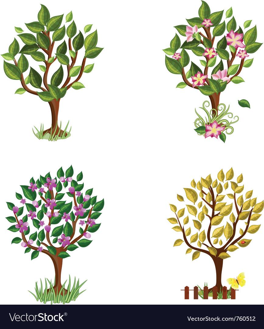 Set of decorative trees seasons vector | Price: 1 Credit (USD $1)