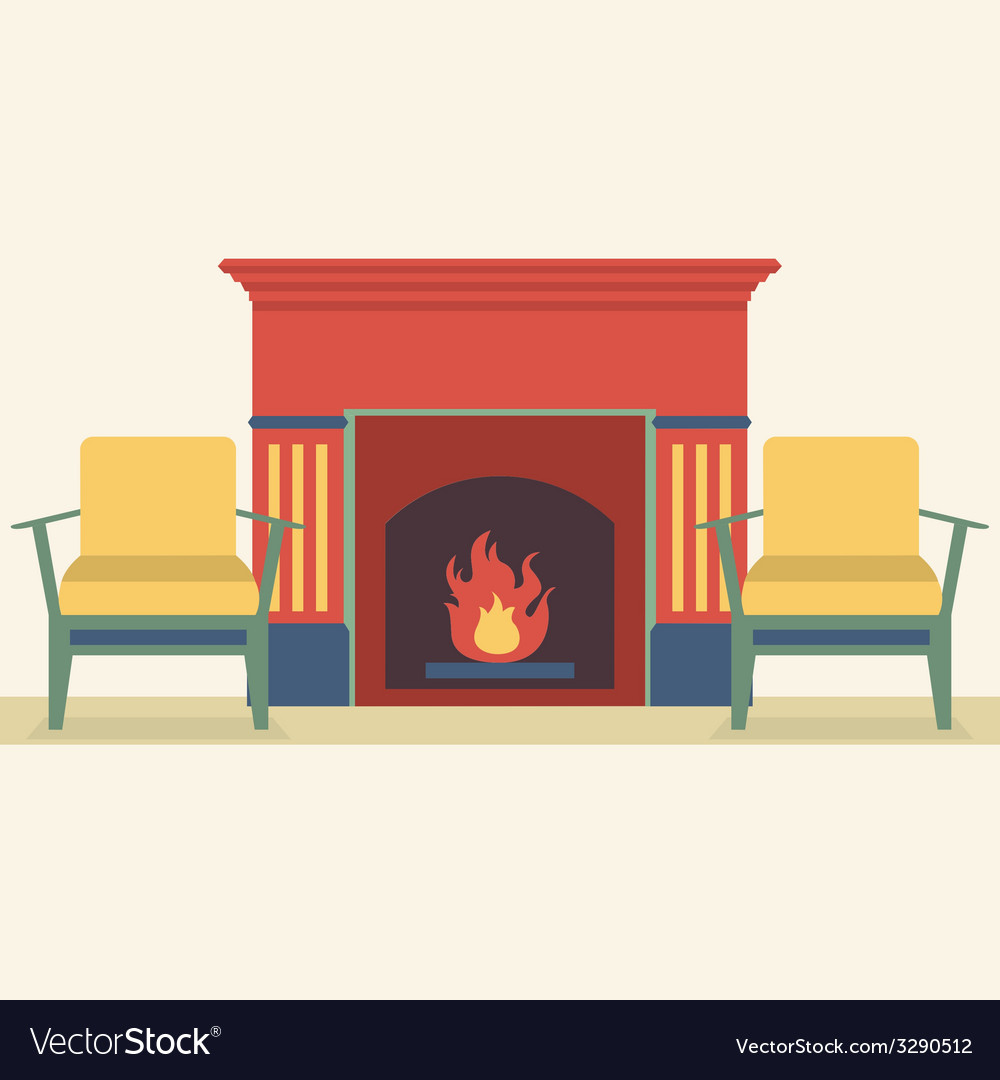 Sofas and fireplace living room interior vector | Price: 1 Credit (USD $1)