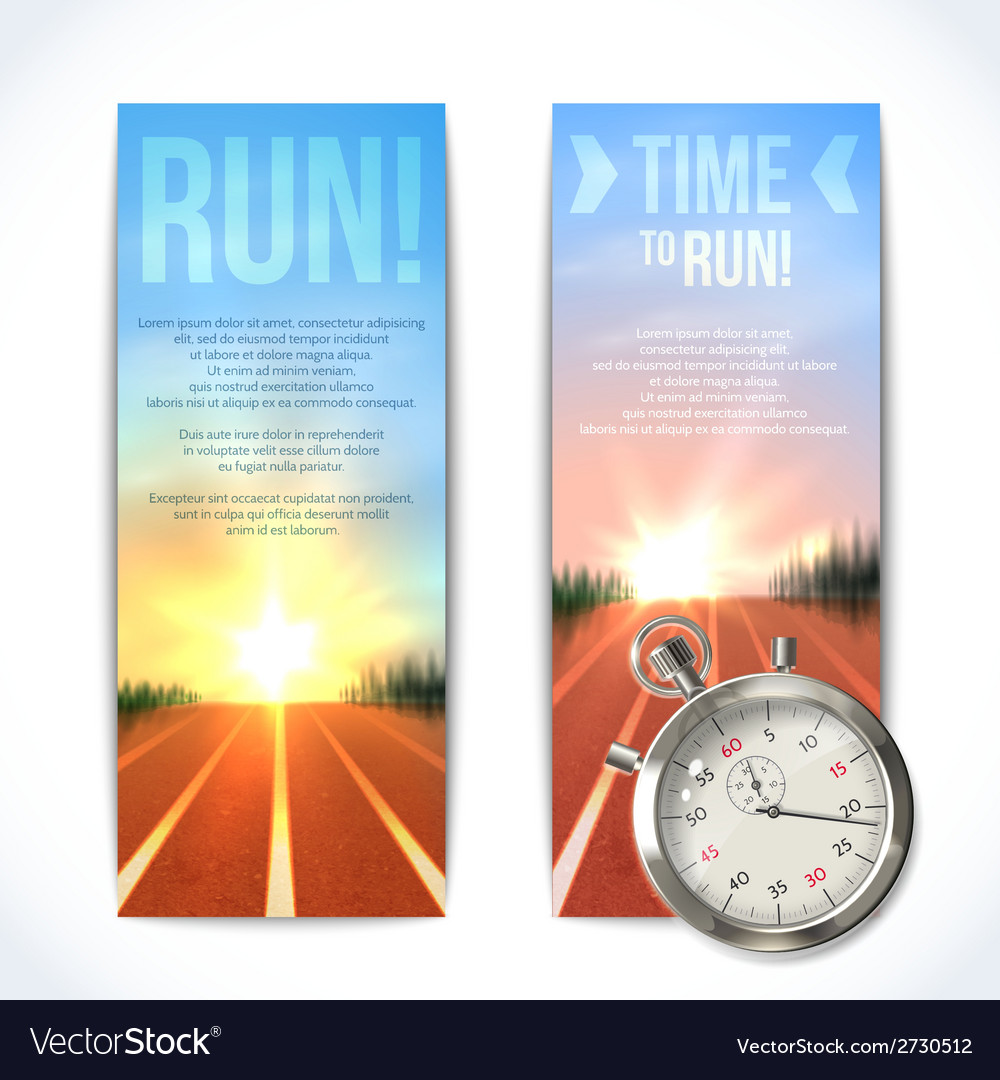 Stopwatch banners vertical vector