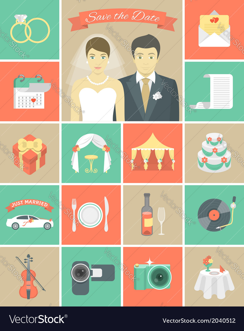 Wedding icons in squares vector | Price: 1 Credit (USD $1)