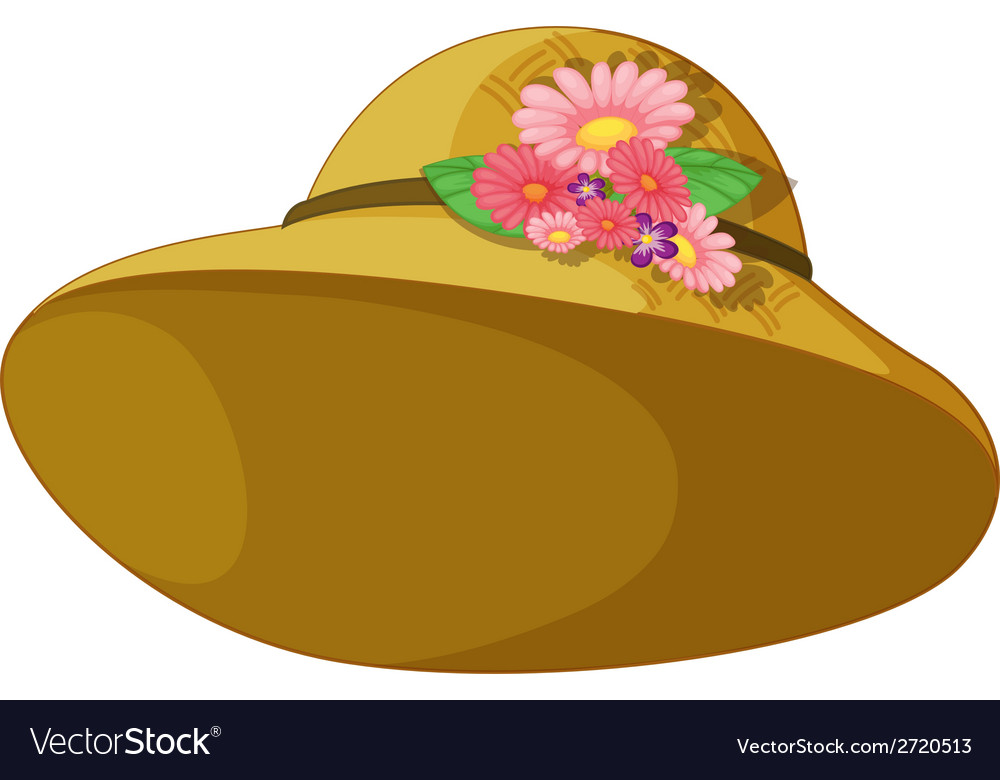 A hat with blooming flowers vector | Price: 1 Credit (USD $1)