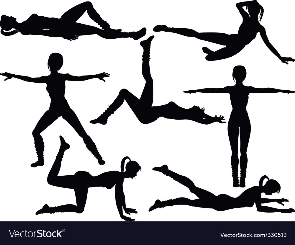 Aerobics silhouettes vector | Price: 1 Credit (USD $1)