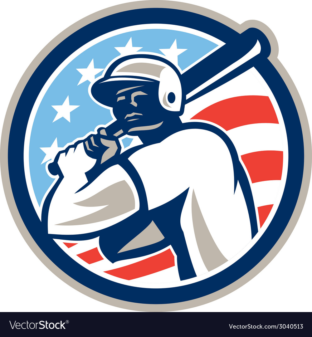 American baseball batter hitter circle retro vector | Price: 1 Credit (USD $1)