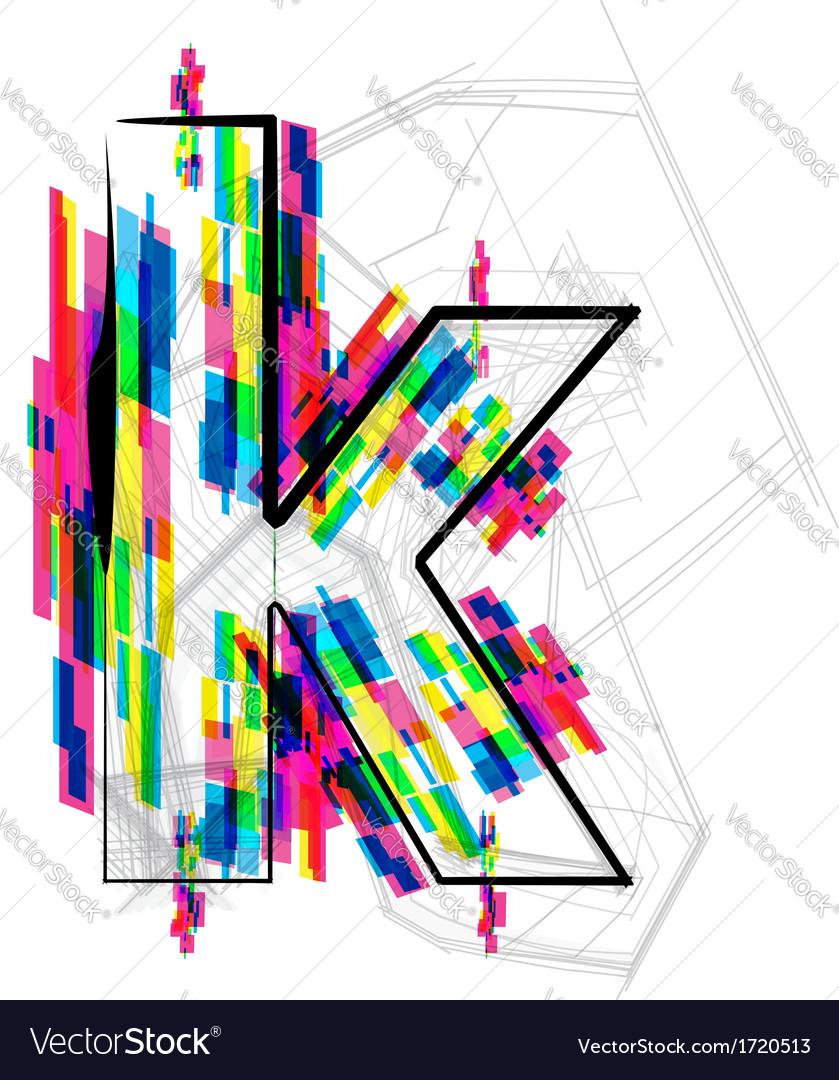 Colorful font - letter k vector | Price: 1 Credit (USD $1)