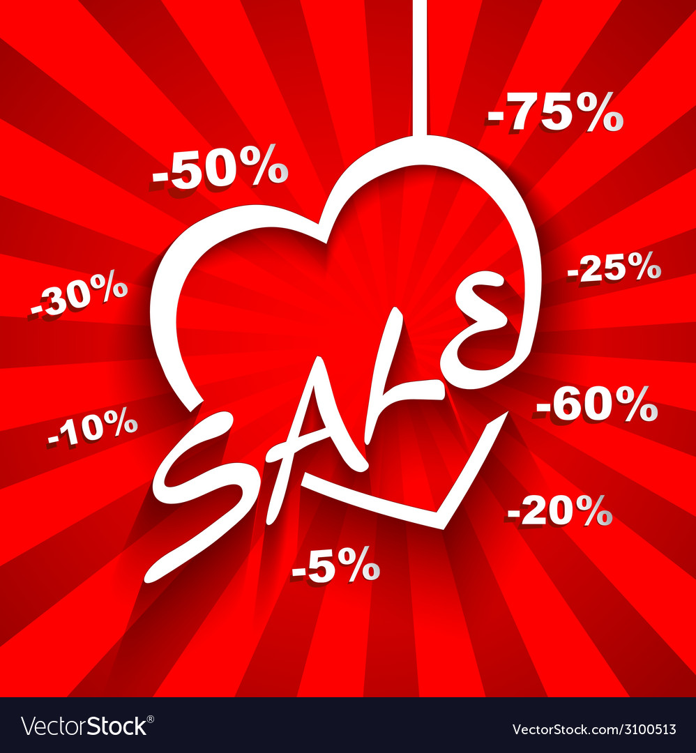 Creative love sale poster with discount sale vector | Price: 1 Credit (USD $1)
