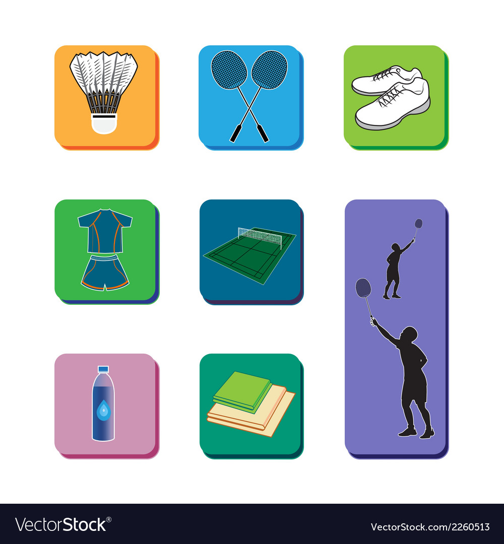 Icon badminton set vector | Price: 1 Credit (USD $1)