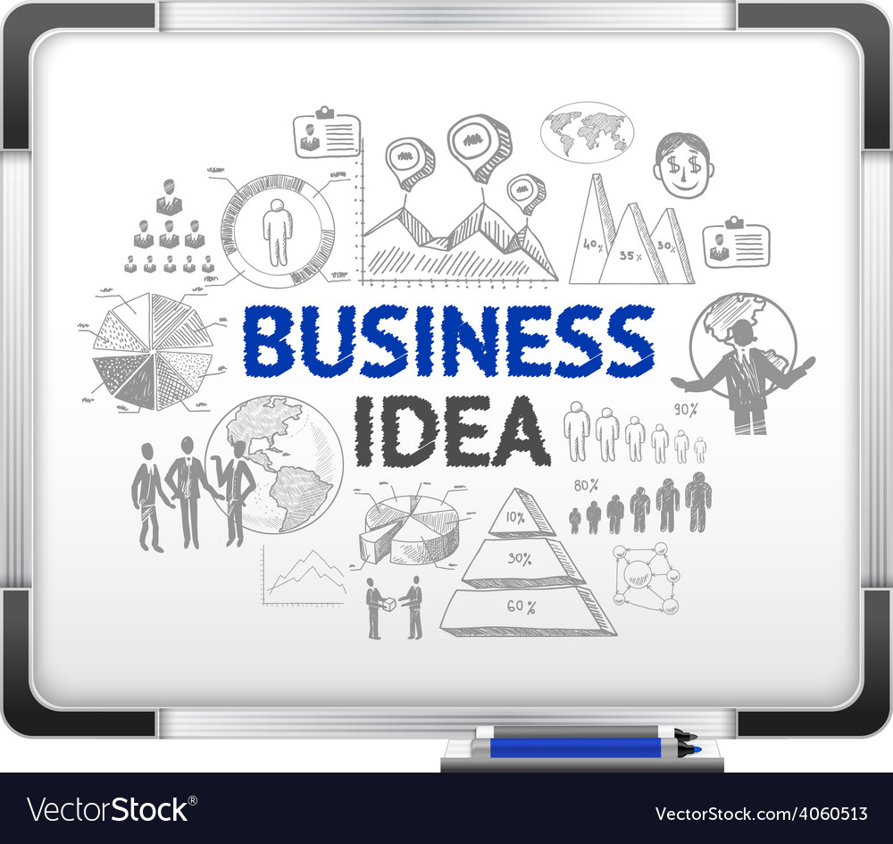 Magnet board with business ideas sketch vector | Price: 1 Credit (USD $1)