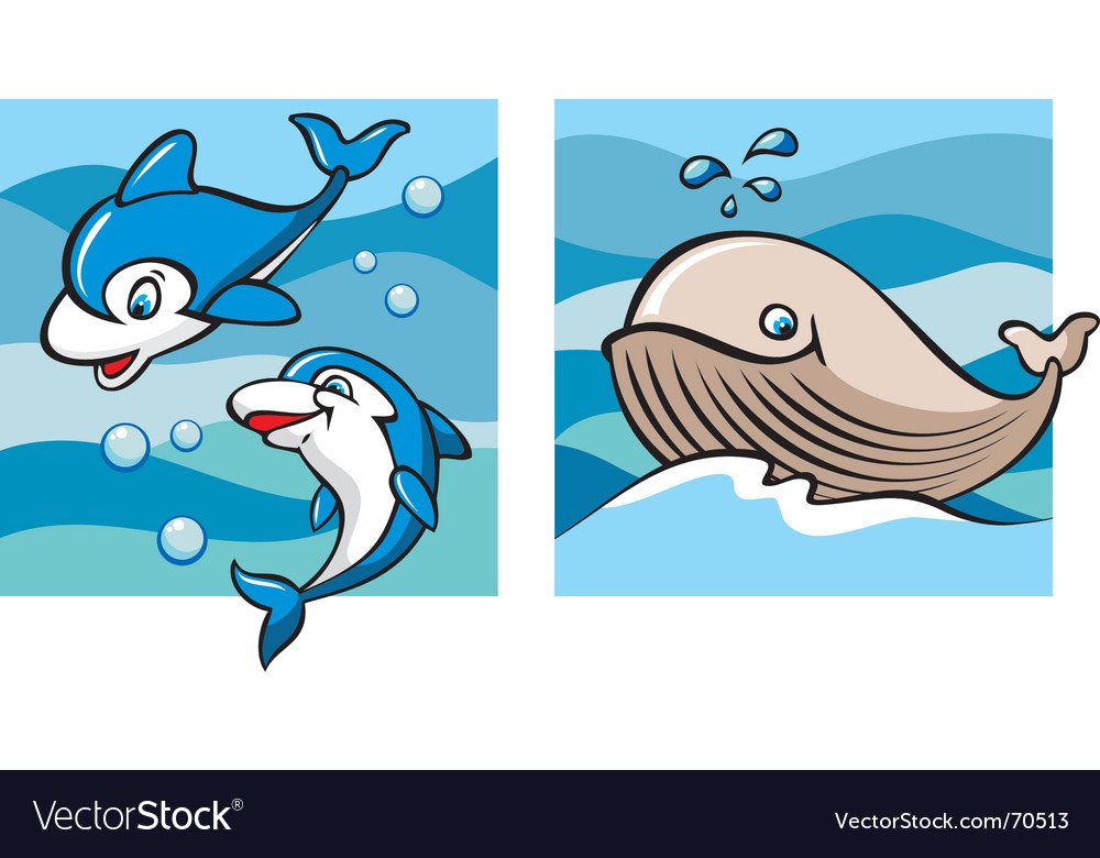 Marine life dolphins and whale vector | Price: 1 Credit (USD $1)