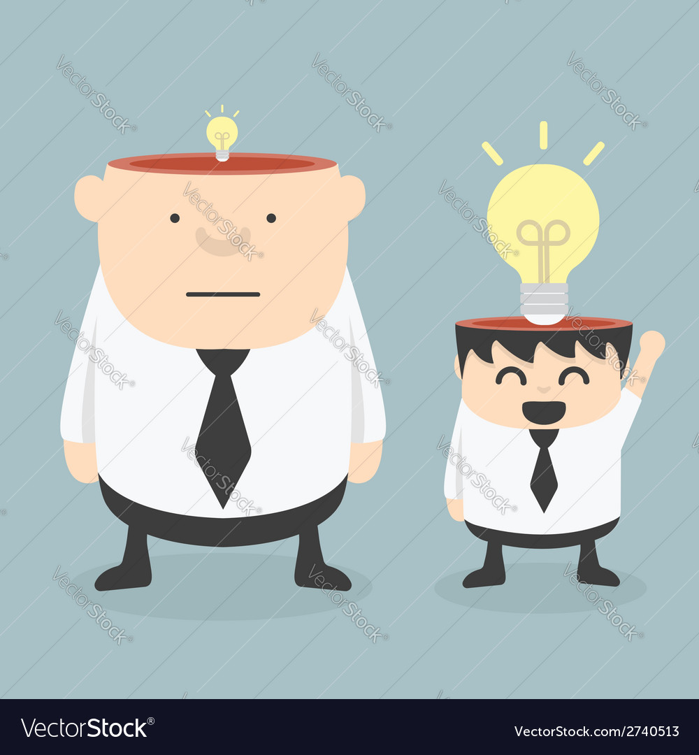 Obese businessman wit small ideas and small busine vector | Price: 1 Credit (USD $1)