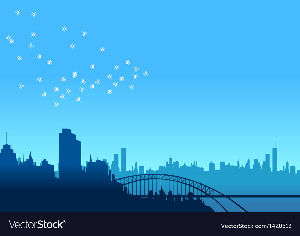 Urban skyline bridge vector | Price: 1 Credit (USD $1)