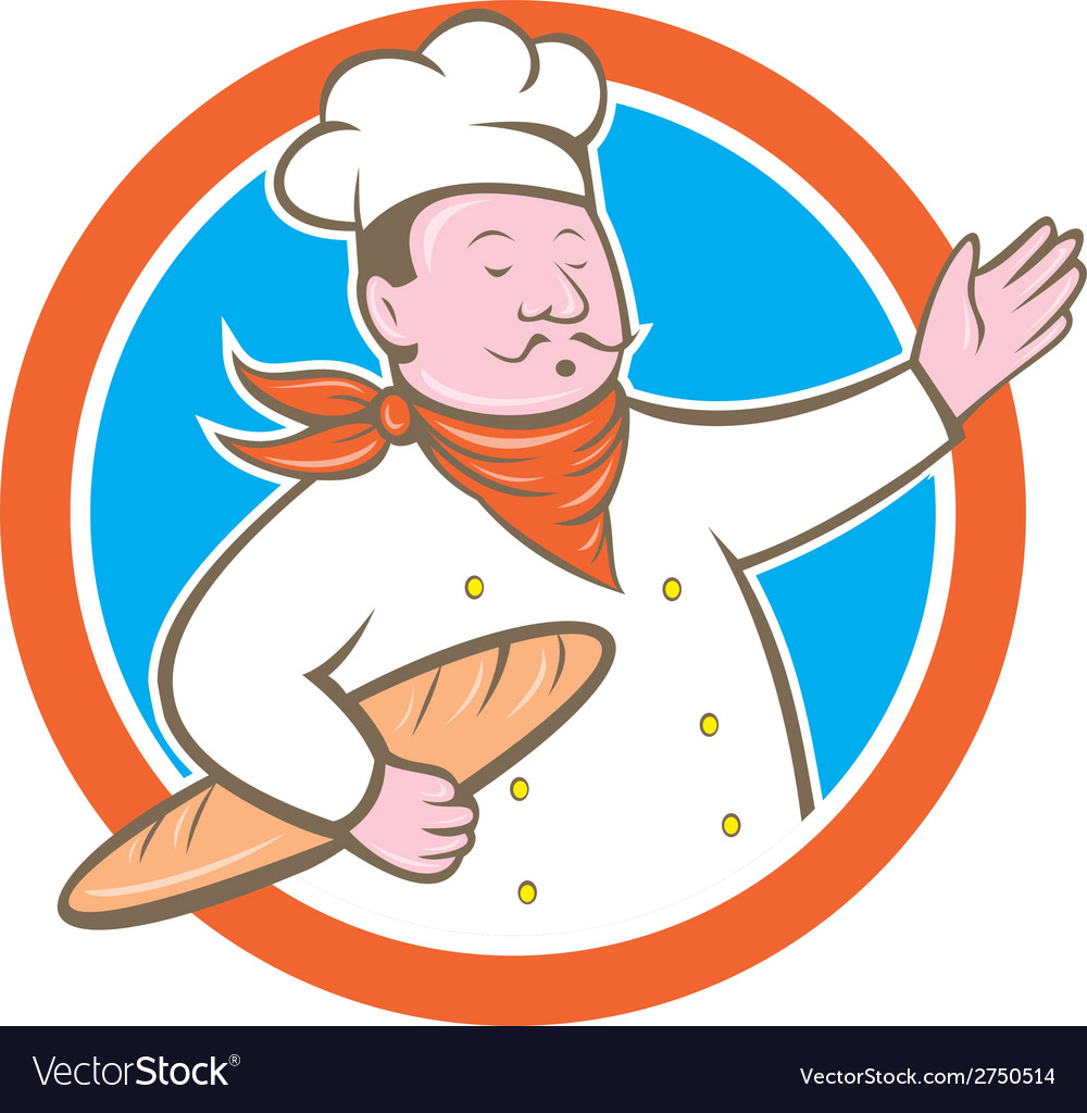 Chef cook holding baguette circle cartoon vector | Price: 1 Credit (USD $1)